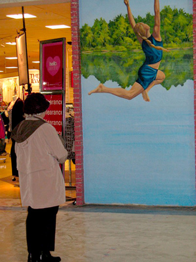 jumping in the lake mural